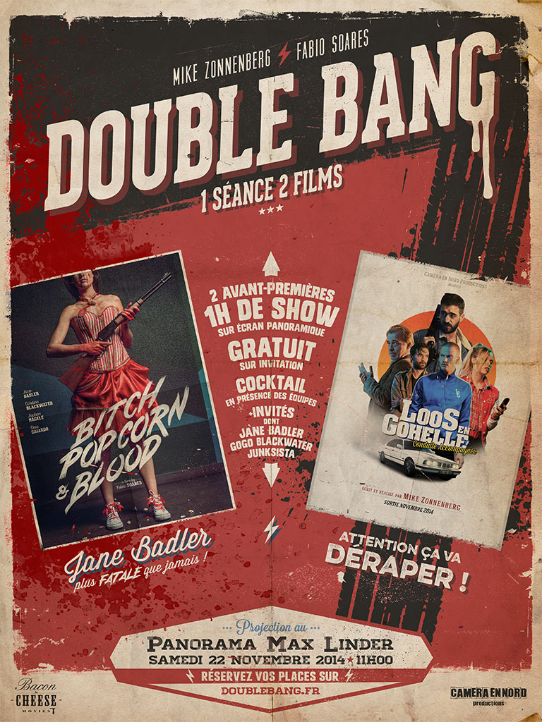 Double Bang poster for Bitch, Popcorn & Blood, and Loos-en-Gohelle premiere in Paris