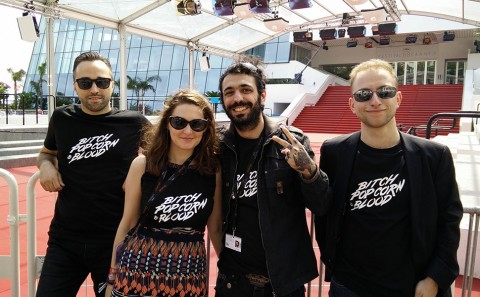 Bitch, Popcorn & Blood team at Cannes Festival 2015 : Fabio Soares, MIke Zonnenberg, Maxim Peignet & Déborah Maufroy.